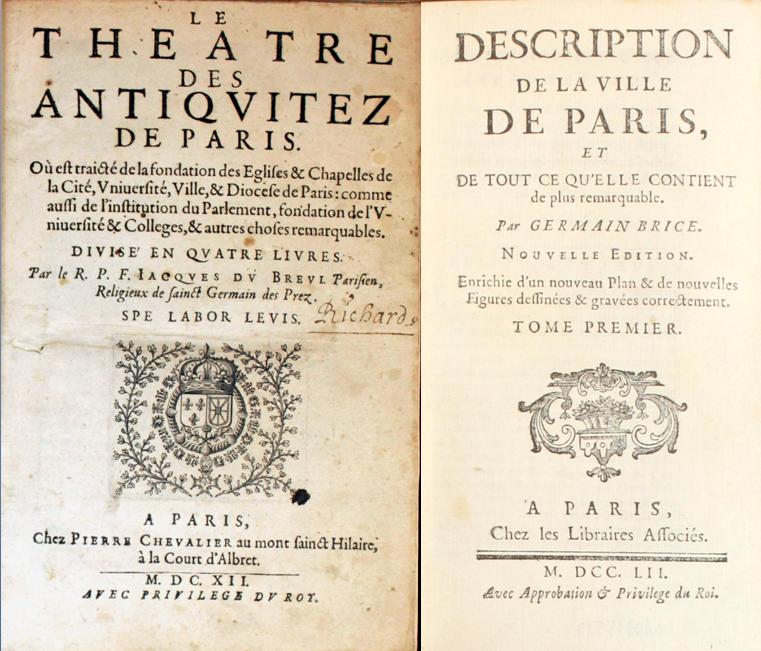 Deux pages de titre de Guides de Paris
