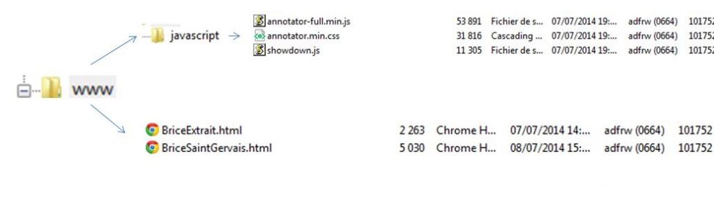 La structure de mon répertoire www. Les deux fichiers HTML le test (en bas) + le dossier javascript dans lequel j'ai stocké les fichiers téléchargés : la bibliothèque annotator et sa css et la bibliothèque showdown.