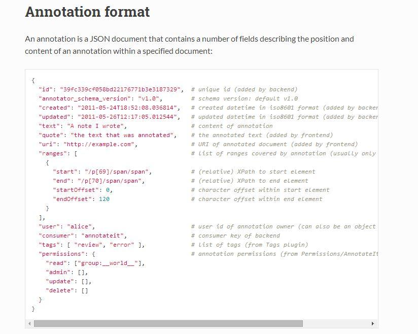 Stockage des annotation sous format Json