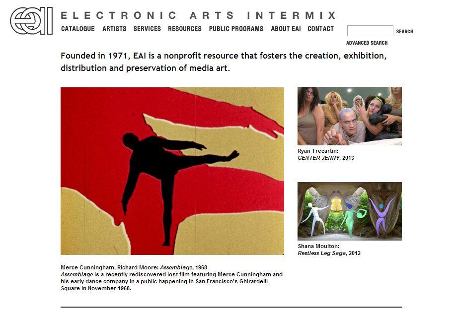 Electronic Arts Intermix, page d'accueil du site