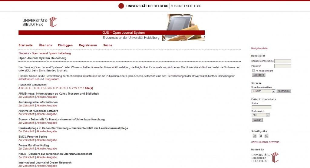 """Plateforme """"E-Journals"""" à la bibliothèque universitaire de Heidelberg"""