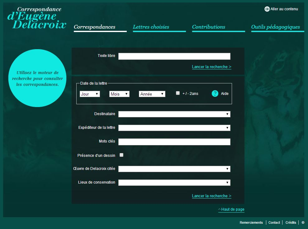 site internet correspondance Delacroix