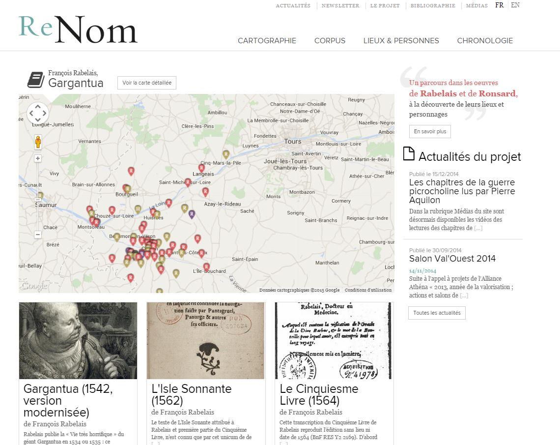 ReNom – Naviguer dans Rabelais et Ronsard par la cartographie