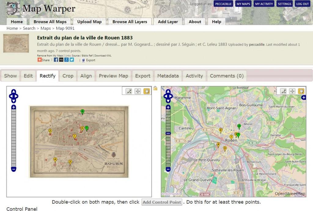 Alignement d'une carte ancienne deans MapWarper