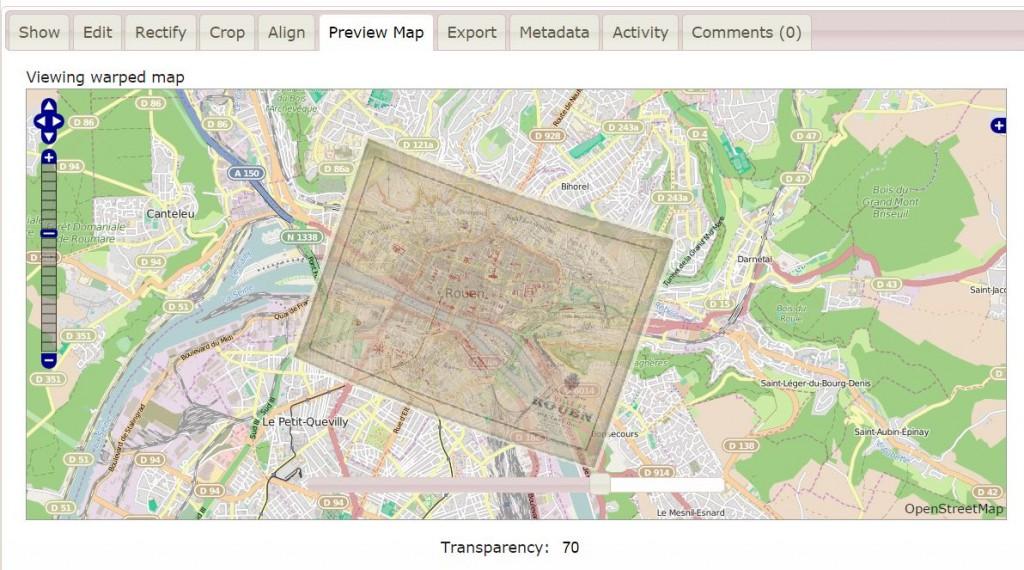Géolocalisation d'une carte ancienne de Rouen sur MapWarper