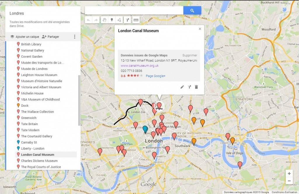Google map des lieux à visiter à Londres