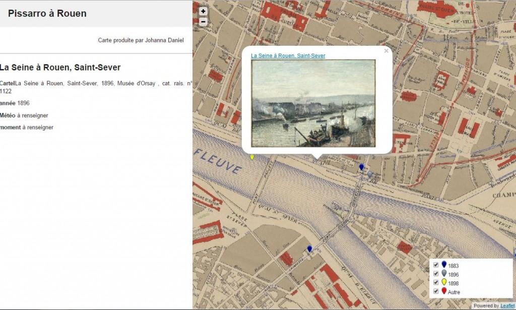 Cartographie des tableaux de Pissarro à Rouen à l'aide de Leaflet