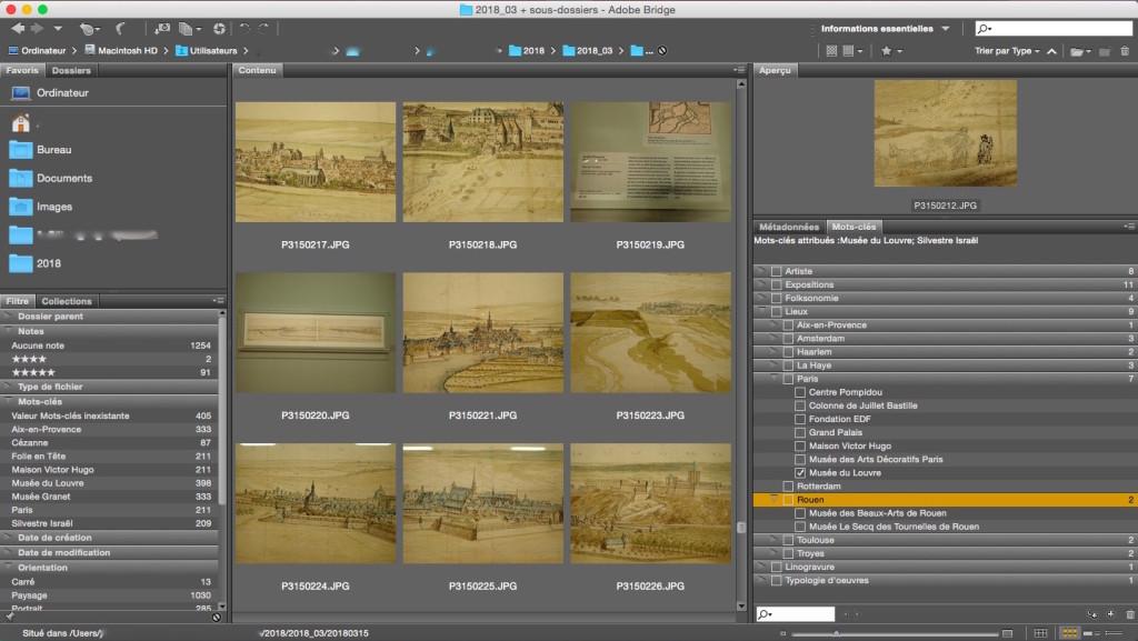 Mon interface de travail dans Bridge (ici avec toutes les photos du mois de Mars). A gauche, la liste des mots clés qui apparaissent dans mes photos, à droite le volet d'indexation.